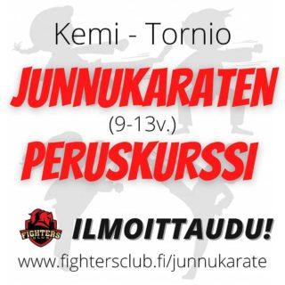 """TORNIO / KEMI ✅Uusi JUNNUKARATEN 🥋 (9-13v) PERUSKURSSI  tulossa!✅  Nuorilla mielenkiinnon kohteet voivat vaihtua nopeasti, ja tästä syystä päätimme järjestää helpon ja edullisen tavan kokeilla karatea!! 😃 ❗Ilmainen tutustumistreeni Kemin Tervahallin tatamilla Ti 7.9. klo 18.15-19.00 (Huom. VAIN etukäteen ilmoittautumalla, ja paikkoja rajallisesti - n.puolet paikoista jo varattu)❗ ✅ Peruskurssin hinta on VAIN 40€ (normaalin 80€ sijaan) !! 😯🎉🙌😊 Mitään varusteita tms. ei tarvitse kurssin aikana. ✅ Kurssi kestää SYYSKUUN. Treenit 7.9. alkaen Tiistaisin klo 18.15-19.00 Tervahallissa Kemissä, ja kahtena lauantaina (18.9. ja 25.9. klo 11-14) 3 tunnin """"Minileiri"""" Putaan hallilla Torniossa ! ✅ SYYSKUUN LOPUSSA voi siis päättää haluaako vielä jatkaa. Jos jatkaa, loppukauden (31.1.2022 saakka) treenimaksu on 50€  ✅ Syyskuun jälkeen voi käydä junnutreeneissä Torniossa Putaan Urheiluhallilla ja Kemissä Tervahallilla. Treenimahdollisuus junnuilla tällä hetkellä 3krt/vko.  ❗ILMOITTAUTUMINEN täyttämällä Junnukaraten lomake ❗  sivulla ➡️ www.fightersclub.fi/junnukarate ⬅️ 🏃♂️ Ilmoittaudu heti, paikkoja rajallisesti ja paikat täytetään ilmoittautumisjärjestyksessä! 🏃♀️ Lisätietoja minttu@fightersclub.fi tai puh. 044-0660 446/Mirva tai 044-5000 256/Kim PS. ✅ Meillä myös aikuisille Karatea, Kickboxingia, Krav Magaa ja Defendoa, ja perhe-alennukset.  ✅ Seurassa onkin paljon vanhempi/lapsi - yhdistelmiä 🤗  #karate #harrastus #liikunta #tornio #kemi #junnukarate #merilappi #fightersclubfinland #tervahalli #putaanurheiluhalli"""